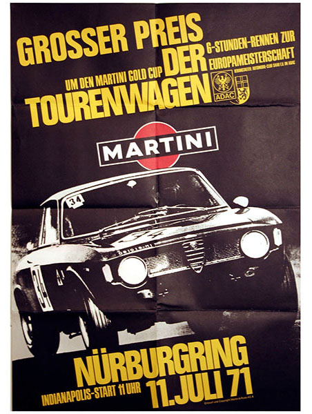 Martini Racing Nurburgring 1972 Touring Car Race Poster