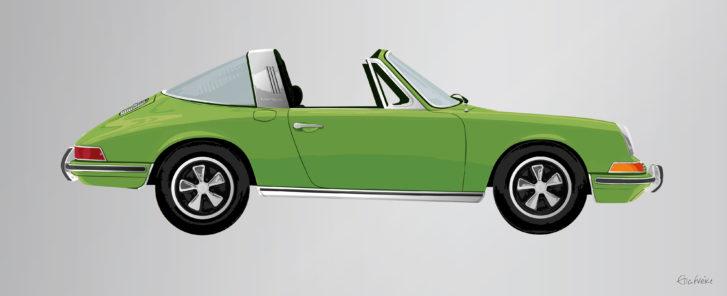Green Porsche 911 Targa by Ella Freire