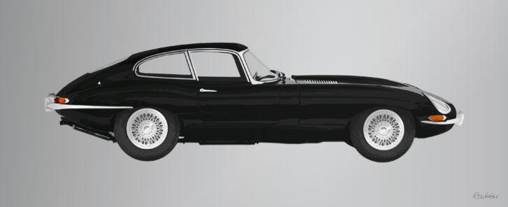 Black e-type jaguar artwork