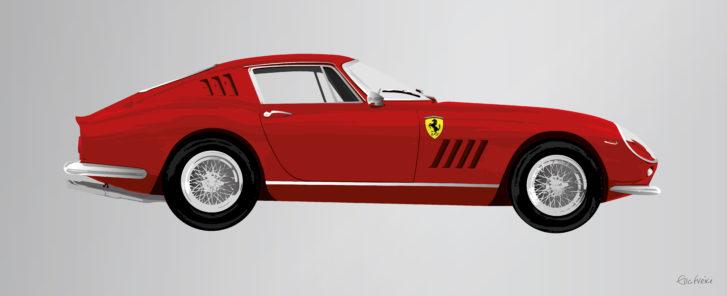 Red Ferrari 275GTB artwork by Ella Freire